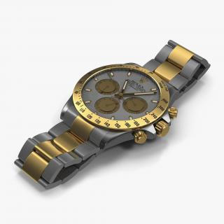 3D Rolex Daytona Two Tone White model