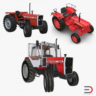 Rigged Vintage Tractors Collection 3D model