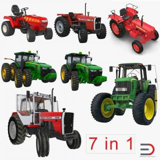 3D Rigged Tractors Collection