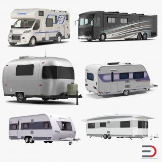 Motorhomes and Caravans Collection 3D model