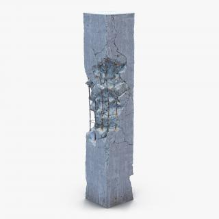 3D Concrete Pillar Damaged model