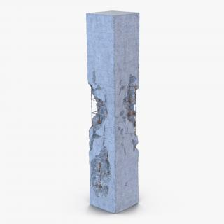 3D model Concrete Pillar Damaged 2