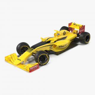 Formula One Car Rigged Yellow 3D model