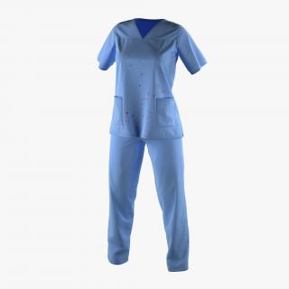 Female Surgeon Dress 17 Stained with Blood 3D