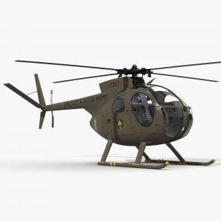 Light Helicopter Hughes OH-6 Cayuse Military 3D model