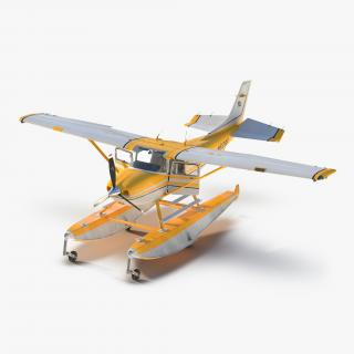 Cessna 182 Skylane on Floats Rigged Yellow 3D