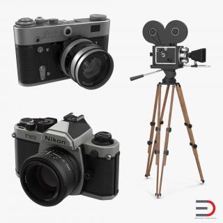3D Vintage Cameras Collection 2 model