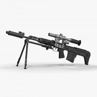 3D Bullpup Sniper Rifle Dragunov SVU model