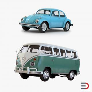 Retro Volkswagen Cars Collection 3D