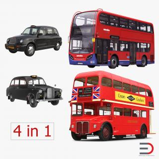 3D London Bus and Taxi Vehicle Set 2 model