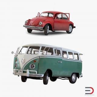 Retro Volkswagen Cars Rigged Collection 3D model