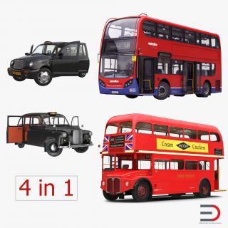 3D model London Bus and Taxi Rigged Vehicle Set 2