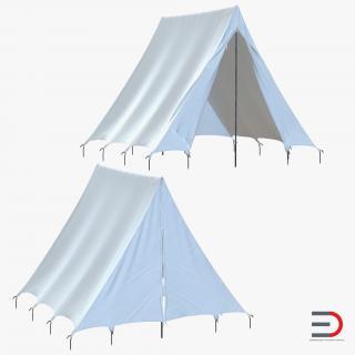 Vintage Camping Tent Set 3D model
