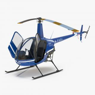 3D model Helicopter Robinson R22 Rigged
