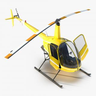 Helicopter Robinson R22 Rigged Yellow 3D
