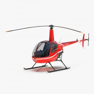Helicopter Robinson R22 Red 3D