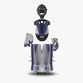 3D Hockey Goalie Protection Kit Generic Blue 3 model