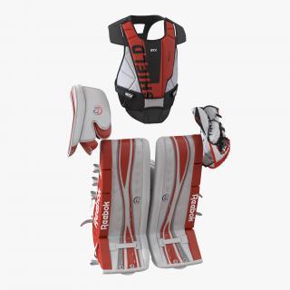 Hockey Goalie Protection Kit Red 3D