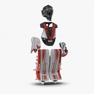 Hockey Goalie Protection Kit Red 3 3D model