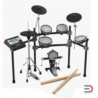 3D Electronic Drum Kit 3D Models Set model