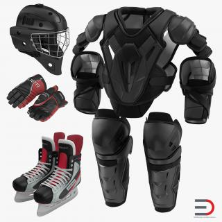 3D Hockey Protective Gear Kit 3 model