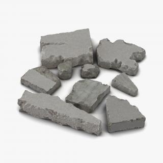 Concrete Chunks Set 3D model