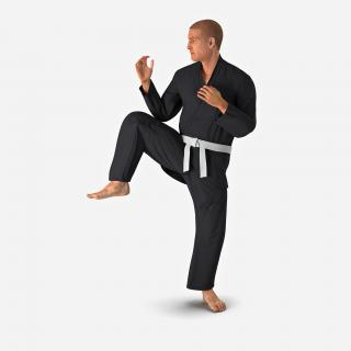 3D Karate Fighter Pose 3 Black Suit with Fur