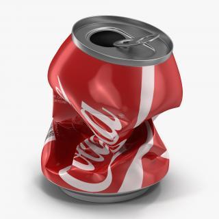 3D Crushed Soda Can 3 Coca Cola model