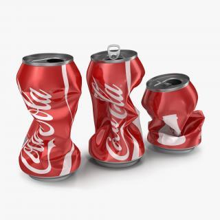 3D Crushed Soda Cans Set Coca Cola