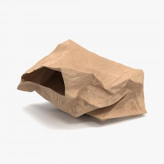 3D model Crumpled Fast Food Paper Bag 2