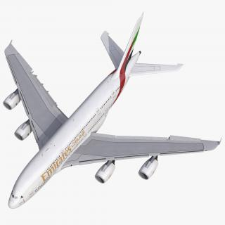 3D Airbus A380-800 Emirates Rigged