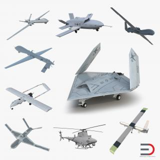 3D UAV Rigged 3 Collection model
