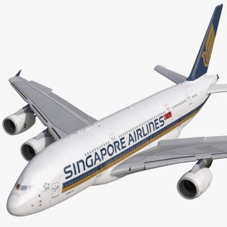 3D Airbus A380-800 Singapore Airlines Rigged