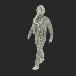 3D US Military Jet Fighter Pilot Pose 3
