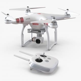 3D model DJI Phantom 3 Professional Quadcopter Set Red