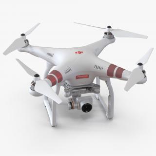3D DJI Phantom 3 Professional Quadcopter Red