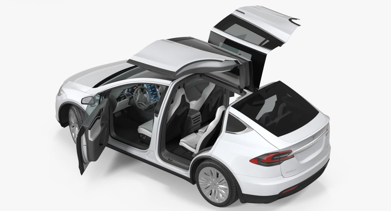 3D model Tesla Model X 100D 2017 Rigged