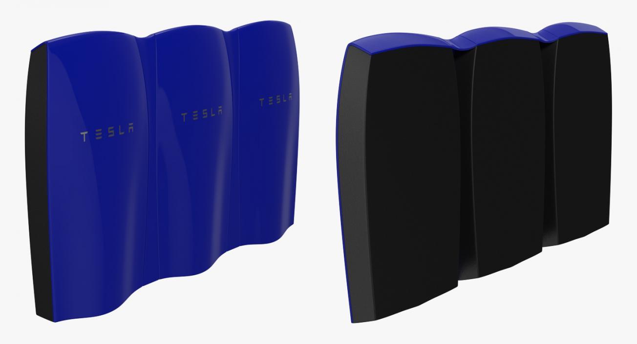 3D Tesla Powerwall Triple Unit Set