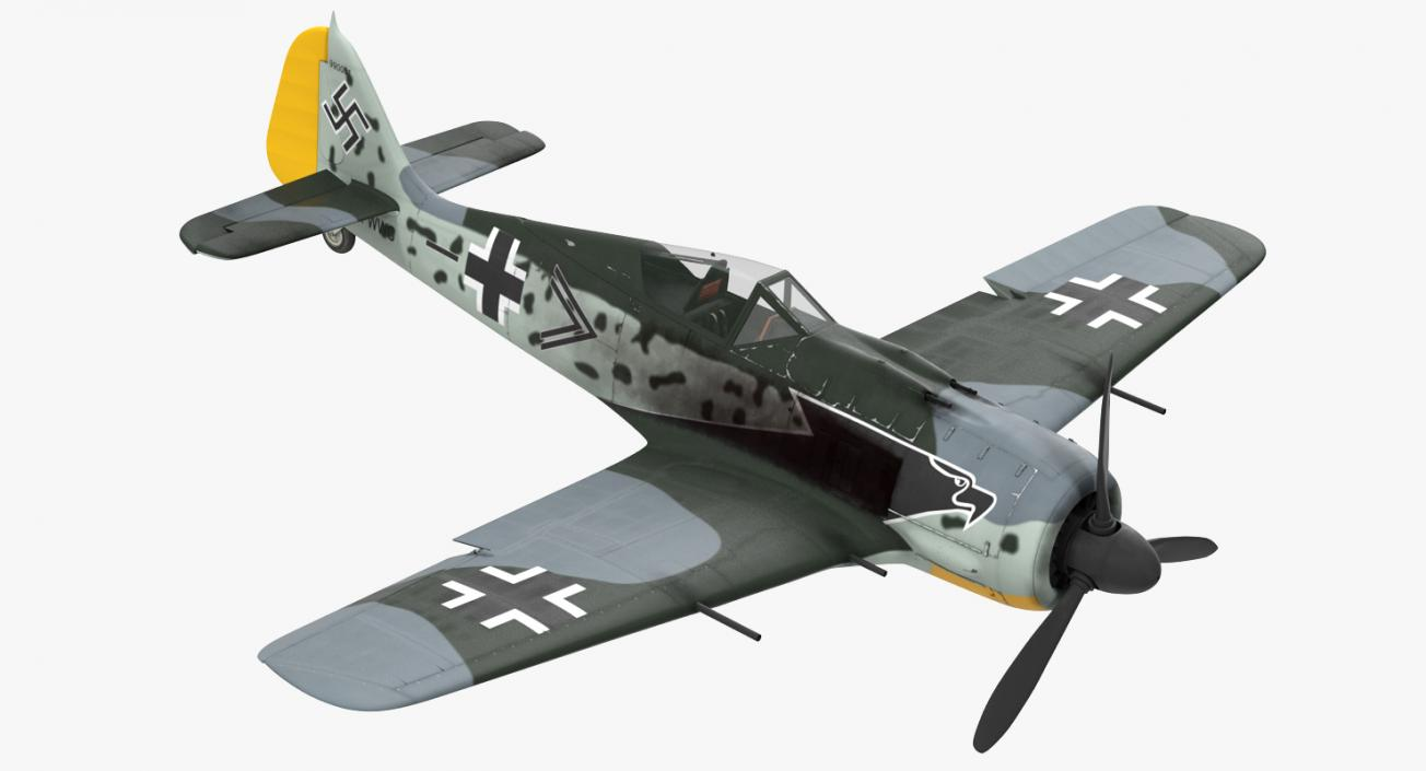 German WWII Fighter Aircraft FW 190 Rigged 3D