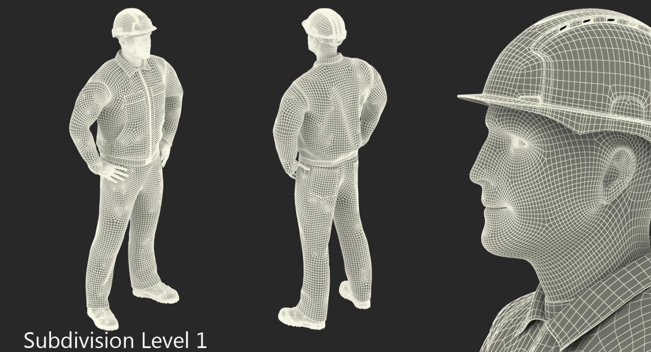 3D model Construction Worker Blue Overalls with Hardhat Standing Pose
