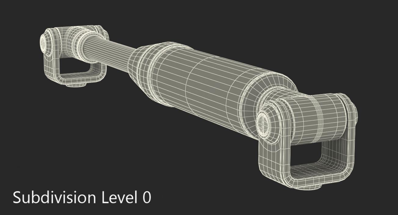 Anodized Hydraulic Cylinder 7 3D model