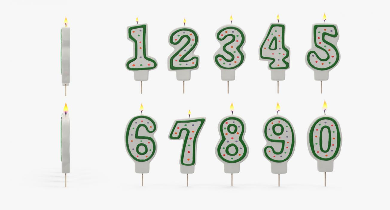 Number Birthday Candles with Flame 3D model