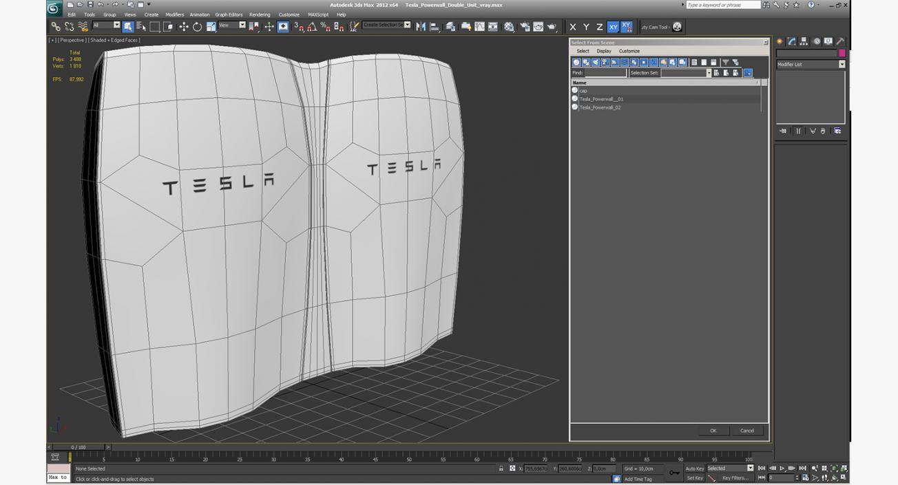 Tesla Powerwall Double Unit 3D