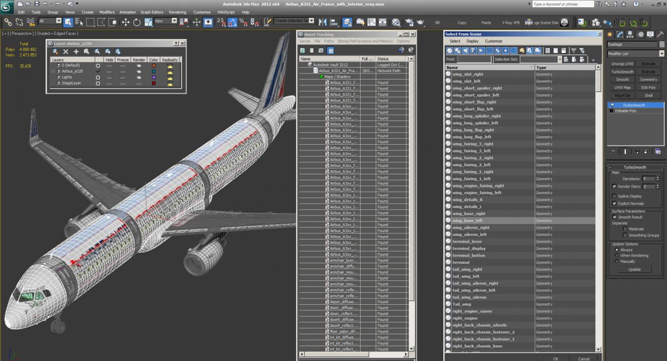 3D Airbus A321 Air France with Interior