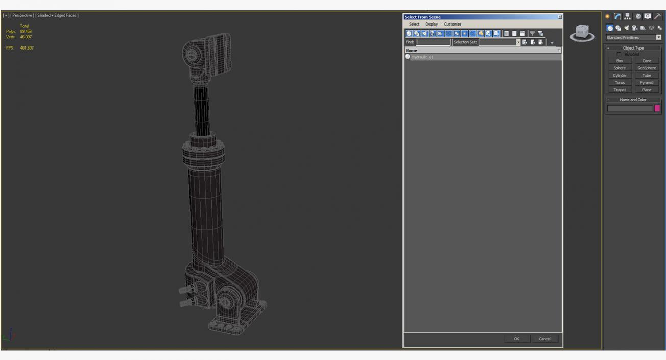 Anodized Hydraulic Cylinder 3D