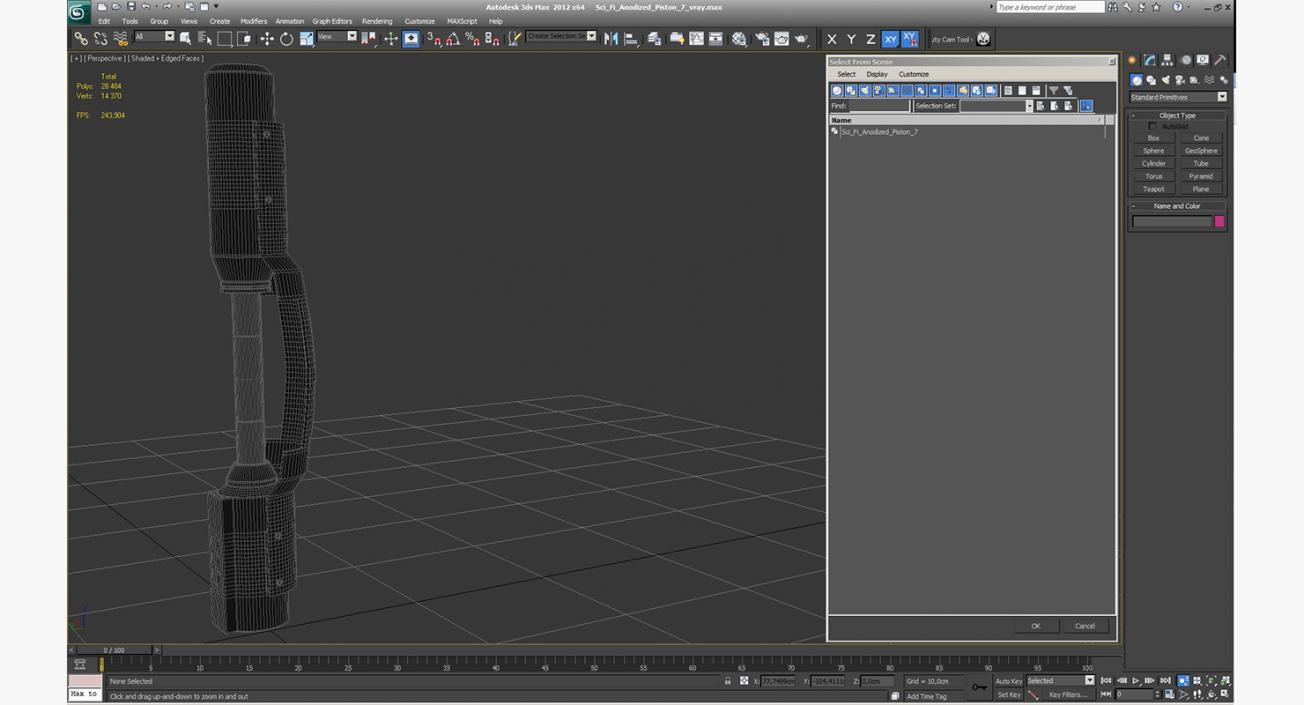 Sci-Fi Anodized Piston 7 3D model