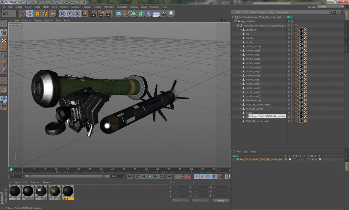 Anti Tank Missile FGM-148 Javelin Set 3D