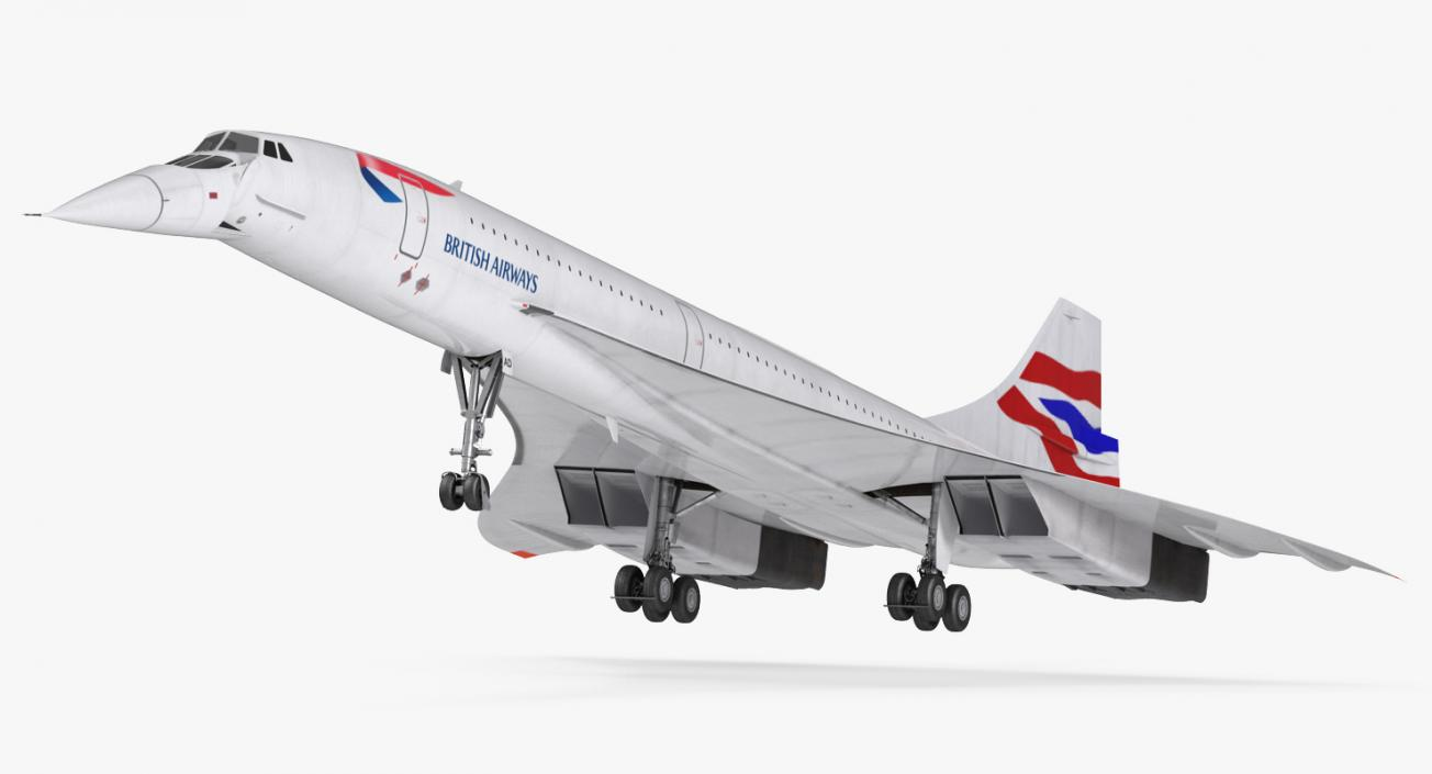 3D model Concorde Supersonic Passenger Jet Airliner British Airways Rigged