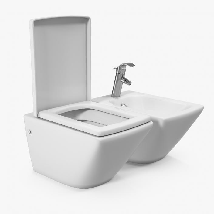 Brilliant 3D Model Back To Wall Toilet And Bidet White 3D Molier Creativecarmelina Interior Chair Design Creativecarmelinacom