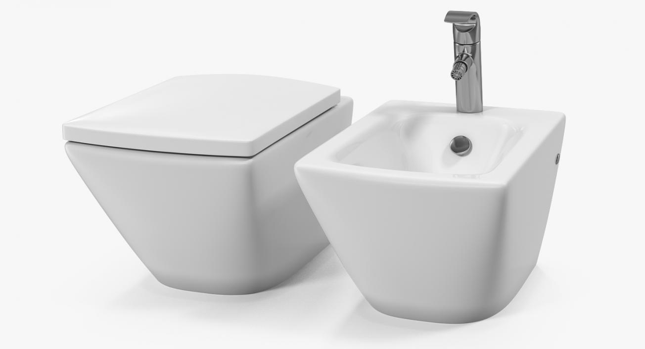 Excellent 3D Model Back To Wall Toilet And Bidet White 3D Molier Creativecarmelina Interior Chair Design Creativecarmelinacom